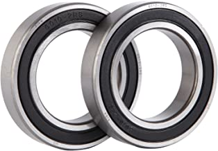 XiKe 2 Pcs 6010-2RS Double Rubber Seal Bearings 50x80x16mm, Pre-Lubricated and Stable Performance and Cost Effective, Deep Groove Ball Bearings.