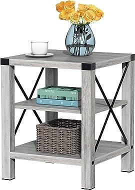 IDEALHOUSE Rustic Coffee Table, Farmhouse Accent Cocktail Table Storage Shelf, Industrial Wood Look Tea Table, Sofa Center Ta