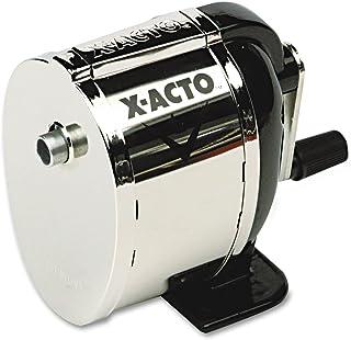 X-ACTO 1041 Model L Classroom Manual Pencil Sharpener, Black/Nickel-plated