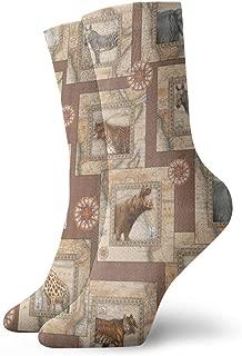 WEEDKEYCAT Vintage Ethnic Tiger Elephant Zebra Adult Short Socks Cotton Cute Socks for Mens Womens Yoga Hiking Cycling Running Soccer Sports