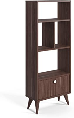 Movian Vega Narrow Bookcase-Walnut