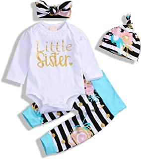 Christmas Baby Girl Clothes Little Sister Bodysuit + Striped Long Pants + Hat Outfits Sets 4Pcs