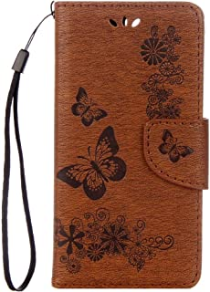 MEI1JIA For Huawei P10 Plus Butterflies Embossing Horizontal Flip Leather Case with Holder & Card Slots & Wallet & Lanyard(Black) (Color : Brown)