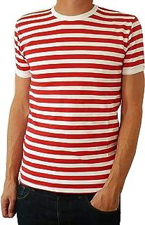 Fuzzdandy Uomo Rosso e Nero Manica Corta a Righe T-Shirt Maglietta rétro S M L XL