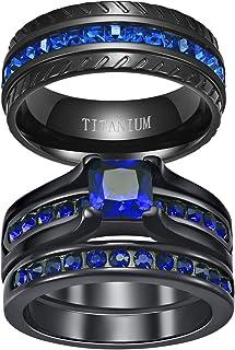Ringcrown Couple Rings Black Plated Princess Cut Blue Cz Womens Wedding Ring Sets Titanium Steel Man Wedding Bands(Please ...