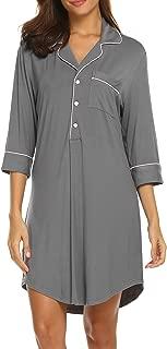 Womens Sleepshirt Button Down Nightgown Sleepwear Summer Slip Night Dress S-XXL