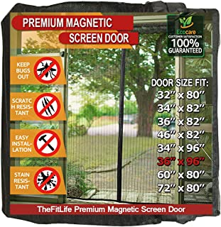 TheFitLife Magnetic Screen Door - Heavy Duty Mesh Curtain with Full Frame Hook and Loop Powerful Magnets That Snap Shut Automatically - Black 38''x97'' - Fits Doors up to 36''x96'' Max