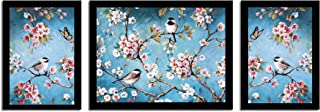 Painting Mantra Floral Birds Theme in Blue Background Framed Printed Set of 3 Wall Art Print(1 X 13.5 X 17.5 II 2 x 9.5 X ...