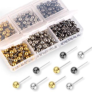 Yalis Push Pins Map Tacks 1/8-Inch Retro Metallic Color Beads Head Marking Pins, 3 Colors, 300-count