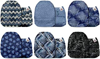 Mama Koala One Size Baby Washable Reusable Pocket Cloth Diapers, 6 Pack Cloth Nappies Without Inserts (Jeans Impression)