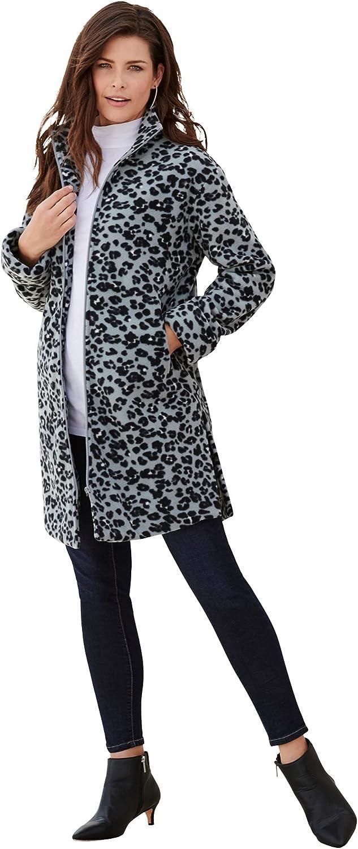 Roaman's Women's Plus Size Plush Fleece Driving Coat Jacket