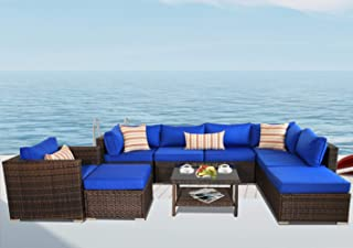Leaptime Patio Sofa Furniture Brown Wicker 9pcs Outdoor Sectional Sofa Conversation Set Garden Couch Royal Blue Cushion