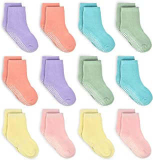 Kids Non Slip Toddler Boy Grip Socks 12 Pairs Anti Skid Sticky Socks for 1-10 Years Infants Baby Children