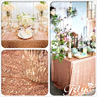 90''x90'' Sparkly Royal Rose Gold Square Sequins Wedding Tablecloth, Sparkly Overlays Table cloth for Wedding, Event