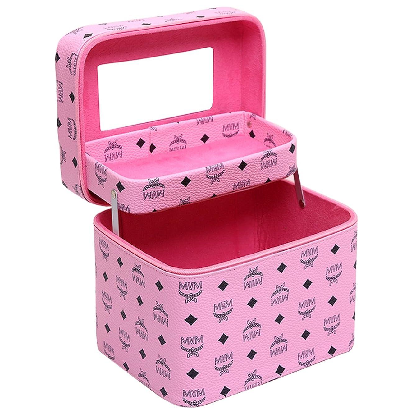 パブ半島復讐化粧品収納ボックス コスメボックス コスメ収納ボックス 化粧品入れ レディース ジュエリーボックス 小物 収納 メイクボックス (ピンク)