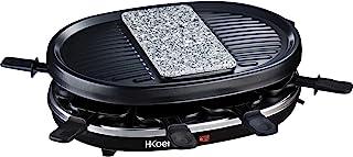 H.Koenig Appareil à raclette Multifonction 8 personnes RP80 Professionnel, Pierre Granit, Grill, Cuisine Fromage Fondue, A...