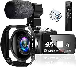 4K Camcorder Digital Camera Video Camera WiFi Vlogging Camera Camcorders with Microphone..