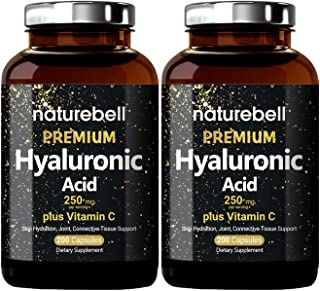 2 Pack NatureBell Hyaluronic Acid Supplement, 250mg Hyaluronic Acid with 25mg Vitamin C Per Serving, 200 Capsules, Support...