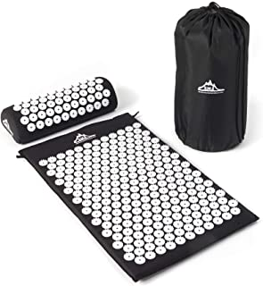 Black Mountain Products Acupressure Mat Black Acupressure Mat with Pillow & Carrying Bag - Acupuncture Mat for Trigger Pt. Massage Therapy, Black