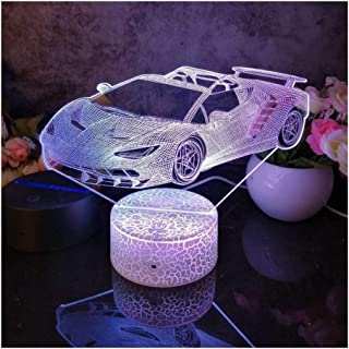HYJUN Halloween Automobile1 Pattern 3D Led Night Light Decoration Children Kids Gifts 7 Color Changing Visual Table Lamp C...