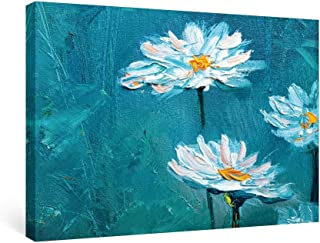 SUMGAR Canvas Wall Art Bedroom Blue Pictures White Flower Paintings Floral Daisy Artwork Prints,24x16 inch