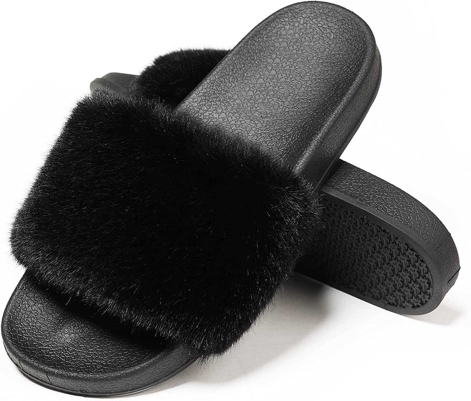 Fur Slides Super popular specialty store Furry For Fuzzy Slippers Women's Women Outstanding
