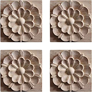 YUENA CARE 4 PCS Wood Carved Flower Decal Unpainted Onlay Applique Furniture Decor #3