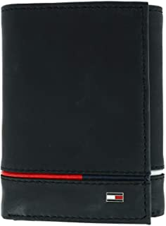 Men's Leather Leif RFID Trifold Wallet with Double ID, Black