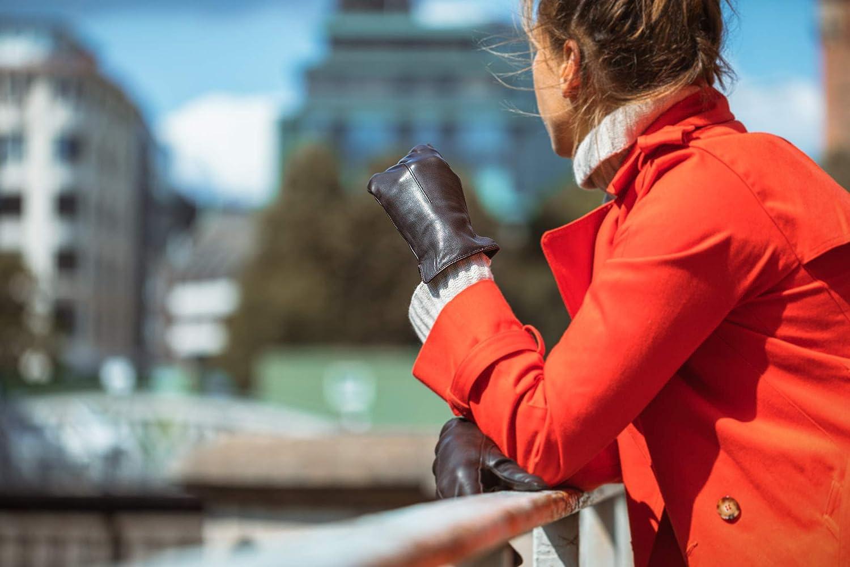 doublure chaude en polaire EEM gants classiques ELENA en cuir de mouton souple pour femmes