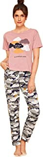 Shein Women's Cute Cloud Graphic Print Top With Star Pants Pajama Set