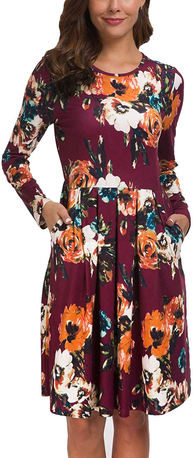 Kranda Women Long Short Sleeves Round Neck Pleated Loose Swing Floral Midi Dress with Pockets