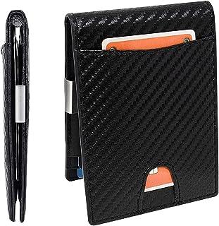 UNIKTREND Mens Slim Wallet with Money Clip Front or Back Pocket RFID Blocking Bifold Carbon Fiber Credit Card Holder and E...