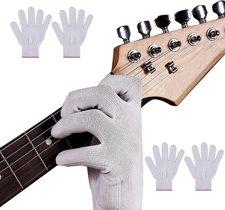 Ulapithi 4 Uds guantes antideslizantes guitarra bajo guante instrumento práctica cubierta de mano guantes calentadores de manos para escribir