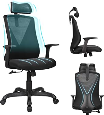 Home Office Chair Ergonomic Desk Chair High Back Mesh Computer Chair with Adjustable Height and Elastic Lumbar Support,Thick