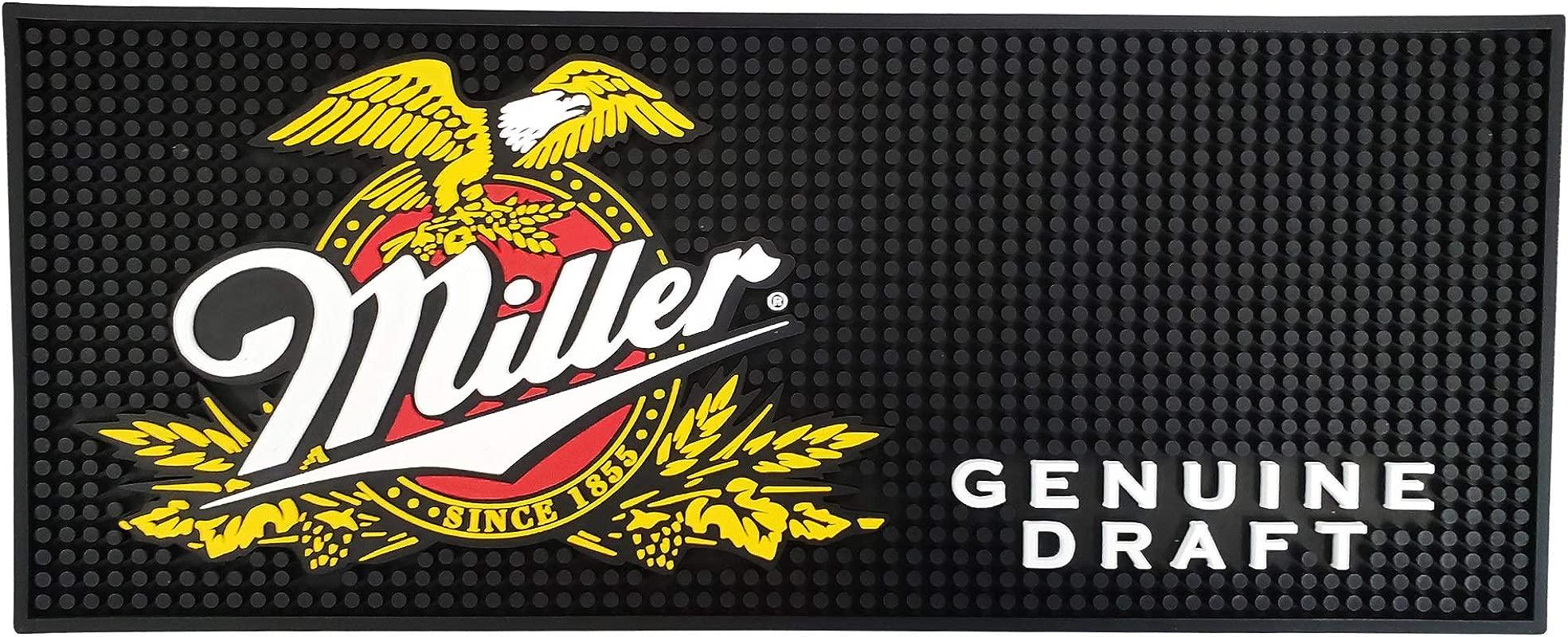 Miller Genuine Draft Beer Rectangular Bar Mat Spill Mat Rail Drip Mat 20 5 X 8 25
