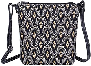 Signare Tapestry Small Crossbody Bag Sling Bag for Women with Luxor Art Deco Style