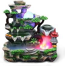 Tafelfontein, unieke hars mini stil kleurrijk licht waterval fontein Zen meditatie desktop simulatie stenen fontein bonsai...