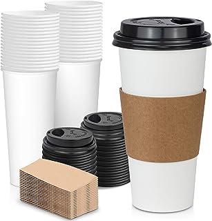 [50 قطعة] كوب قهوة ورقي ابيض للاستعمال مرة واحدة بسعة 24 اونصة بغطاء اسود وغلاف اسطواني كرافت كومبو، مقاس XL