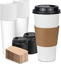 [50 Pack] 24 oz Hot Beverage Disposable White Paper Coffee Cup with Black Dome Lid and Kraft Sleeve Combo, Extra Large