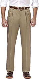 Haggar Men's Premium No-Iron Classic-fit Expandable-Waist Pleat-Front Pant