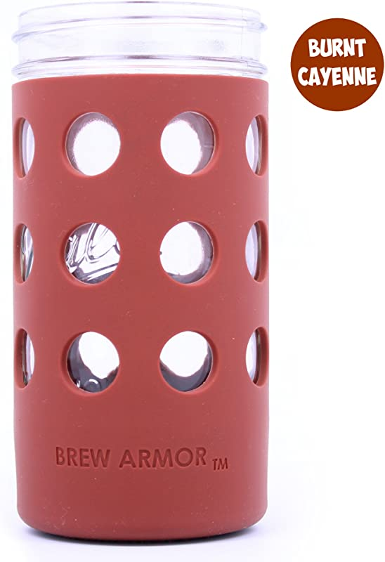 Brew Armor Silicone Mason Jar Sleeve 24 Oz 1 5 Pint Wide Mouth By Brute Kitchen 2 Pack Burnt Cayenne