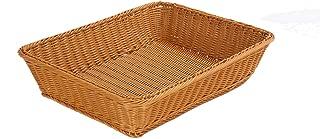 Extras Large Poly Wicker Bread Basket Bread Shop Supermarket Display Basket Woven Tabletop Food Fruit Vegetables Restaurant Serving Basket (Brown, Large 45x35x10cm)