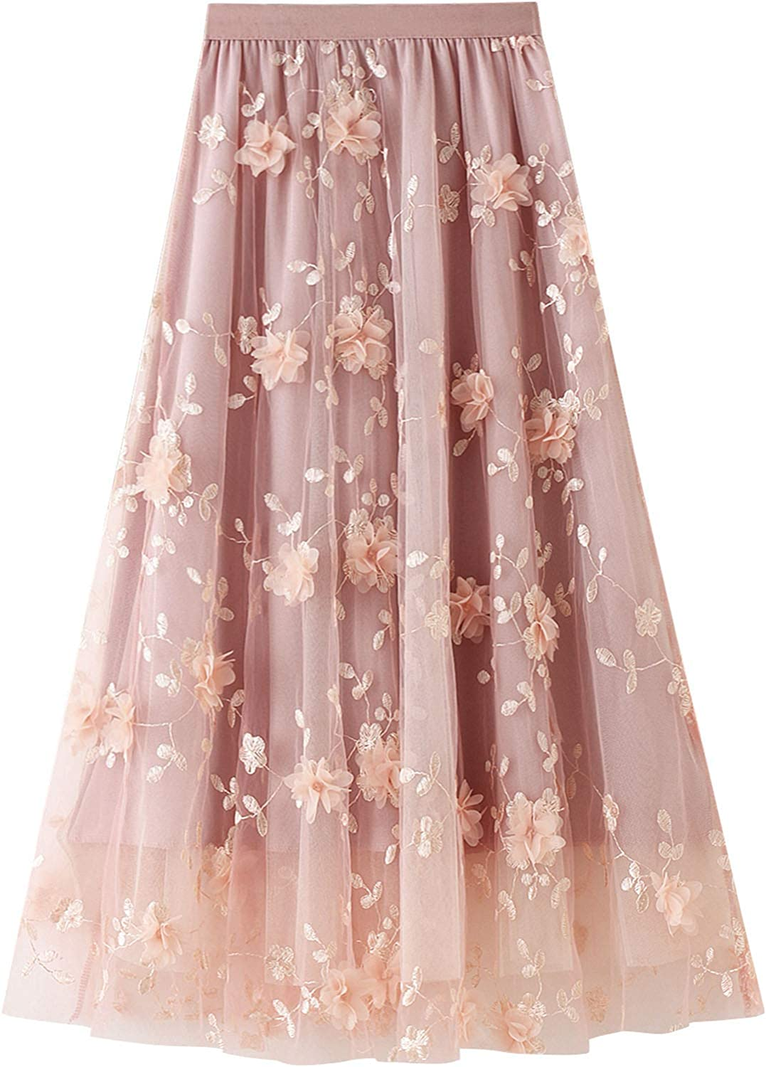 Women Embroidery High Waisted Tulle Skirt Casual Swing Mesh Midi Maxi Skirt