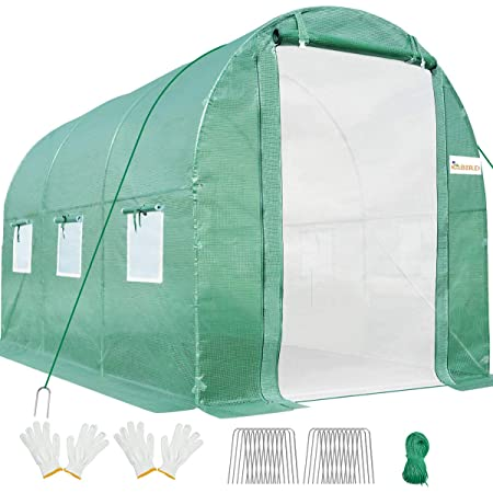 KING BIRD 10x6.6x6.6FT Upgraded Large Walk-in Greenhouse Heavy Duty Galvanized Steel Frame 2 Zippered Screen Doors 6 Screen Windows Tunnel Garden Plant Hot Green House 18 Stakes 4 Ropes 2 Gloves Green