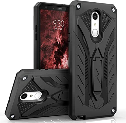 Zizo Static Series Compatible with LG Stylo 4 Case Military Grade Drop Tested with Built in Kickstand Black