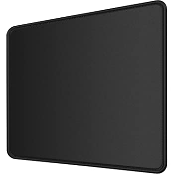 MROCO Computer Mouse Pad [30% Larger] with Non-Slip Rubber Base, Premium-Textured & Waterproof Mousepad with Stitched Edges, Mouse Pads for Computers, Laptop, Gaming, Office & Home, 8.5 x 11 in, Black