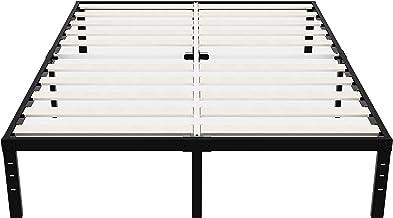 إطار سرير معدني عالي التحمل مقاس 35.56 سم مع شرائح خشبية مقوية، قاعدة سرير متينة خالية من الضوضاء ومضادة للانزلاق للمراهقي...