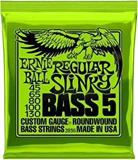 Ernie Ball P02836 Regular Slinky 5-String Nickel Wound Electric Bass Strings, 45-130 Gauge