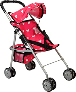 The New York Doll Collection My First Doll Stroller with Basket & Heart Design..