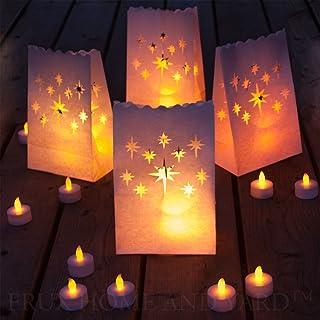 Frux Home and Yard Luces De Té Sin Llama - 24 Velas De Parpadeo Amarillo LED con 12 Bolsas De Luminaria De Bonificación Incluido
